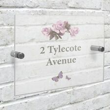 Vintage Rose Personalised House Name Sign Plaque Door Number Wall Fittings