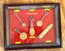 Evolution of Chinese Stringed Instruments Miniature in Shadow Box Frame