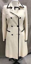 Valentino white leather coat with black trim.  Double breasted trench style. 44
