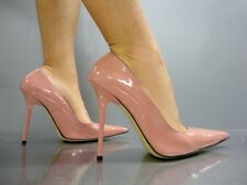 MADE IN ITALY HIGH HEELS POINTY PUMPS SCHUHE LEATHER DECOLTE PINK ROSE CIPRIA 42