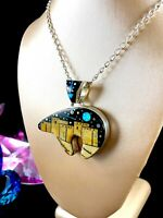 CALVIN BEGAY NAVAJO STERLING NECKLACE STARRY NIGHT AT THE PUEBLO BEAR PENDANT