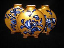 Royal Worcester Triple Moon Flask Vase Cobalt Blue on Gold