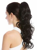 Hair Piece Ponytail Long Light Curly Wetlook Curly Black 45 Cm