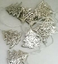 Christmas Tree String Light Set 10 Silver Metal Battery  LED Indoor