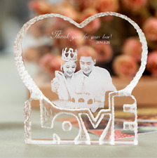 Custom Personalized Love Heart Shape Laser Engraved Crystal Photo Album Family W