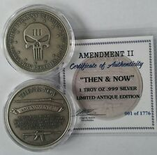 Punisher antiqued 1 oz .999 Silver coin,  second amendment ar15 musket NEW Rare