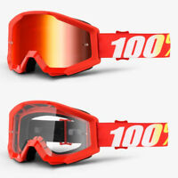 2018 100% PERCENT STRATA MX MOTOCROSS GOGGLES  FURNACE RED MIRROR / CLEAR LENS