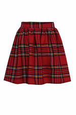 NEW WOMENS RED LADIES CHECK TARTAN SKATER MINI SKIRT ELASTICATED WAIST SIZE 8-20