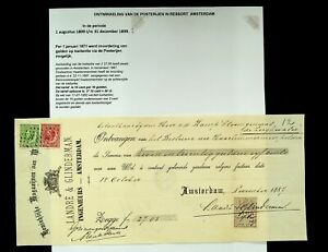 NETHERLANDS 1887 20c+ 10c ON SIGNED RECEIPT PLACED IN AMSTERDAM