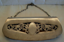 ANTIQUE 800 SILVER ROMANIAN PURSE / EVENING BAG -HAND SAWED / ENGRAVED-190 grams