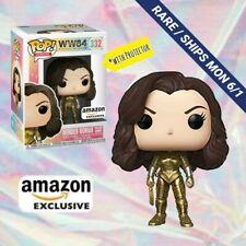 Funko Pop Dc Wonder Woman 1984 Golden Armor Metallic Amazon Exclusive +Protectr