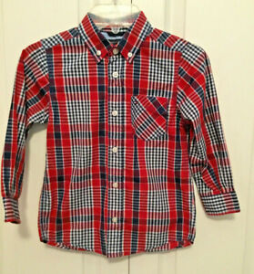 Tommy Hilfiger Long Sleeve Plaid Button Down Shirt Boys size 4/5