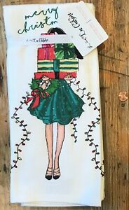 NWT Set 2 La Cuisine French Terry Shopping Girl Merry Christmas 🎁Kitchen Towels