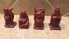 Vintage Lot Of 4 Red Buddha Figurines Miniatures