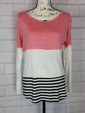 Olivia Sky Womens Long Sleeve Coral Cream Black Striped Lace Trim Blouse Size S