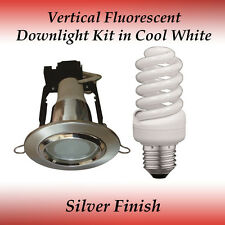 Energy Saving 15 watt Cool White Fluorescent Downlight Kit in Silver Finish
