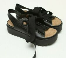23e7255aaf6 Urban Outfitters Cameron Platform Black Lace Up Ribbon Sandal Sz 37  US 7