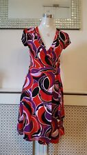 H&M Oriental Japanese Geometric Wrap Effect Dress Size EUR 36 uk 8 10