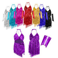 Women Sequined Latin Tango Ballroom Salsa Dance Dress Tassel Dance Costume Dress