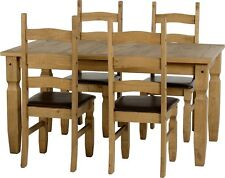 Mexican Pine CORONA 5ft Dining Table & 4 Chairs With Brown PU Seat Pads