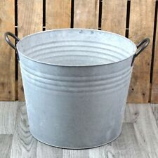Zinc Metal Extra Large Round Garden Planter with Handles NEW