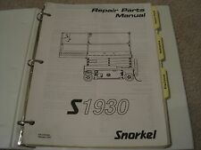 Snorkel S1930 Scissor Lift Maintenance & Repair Parts Manual Set *S1930 - 2001