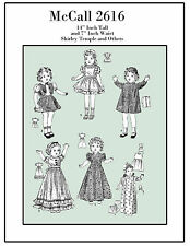 Vintage 1930's McCall 2616 - 14 inch Shirley temple Doll Clothes Sewing Patterns