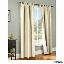 Thermalogic Weather Cotton Window Tab Curtain Panels Pair Natural 40W X 54L Each