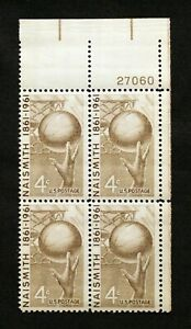 US Plate Blocks Stamps #1189 ~ 1961 NAISMITH 4c Plate Block of 4 MNH