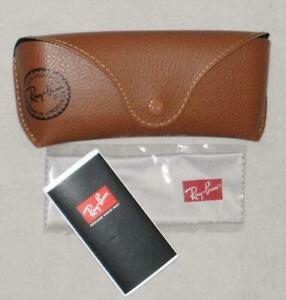 NWT Ray-Ban SUNGLASS CASE With Cloth Pebbled Leatherette Brown