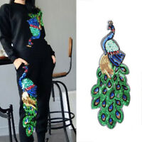 Sequin Glitter Peacock Sew Iron On Patches Embroidery Badge Applique Cloth Patch