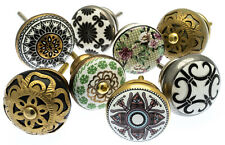 Door Knobs Vintage Style Ceramic Mosaic Brass Cupboard Kitchen Handle Pull x 8