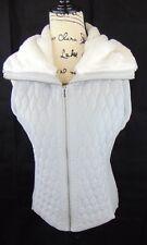 Ruby Rd Woman M Vest Lt. Gray Faux Fur Collar Full Zip 2 hand zip Pockets NWT!!!