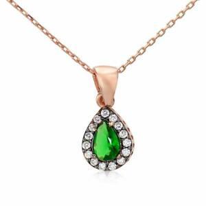 925 Sterling Turkish Emerald Color Chrome Diopside Art Deco Rose Gold Necklace