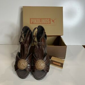 Pikolinos Leather Sandals. Chocolate Brown. Made In Spain. EUR 39