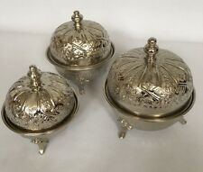 Moroccan Alpaca Silver set of 3 Nibble/Sugar Bowl