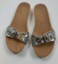 Nine west women silver glitter slide sandals size10M