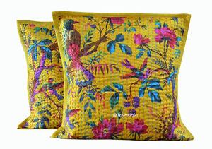 Indian Cotton Bird Print Cushion Cover Pillow Kantha Handmade Home Decor Set 2