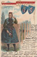 Gruss aus Hessen Präge-AK um 1900 Mädchen in Volkstracht Wappen 1804117