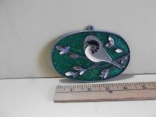 """Stained Resin Bird on Branch Window Decor/Ornament Sun Catcher 4.5""""in Long"""