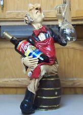 """Waiter Butler Statue Wine Bottle & Glass Holder Great Bar 23"""" Tall"""