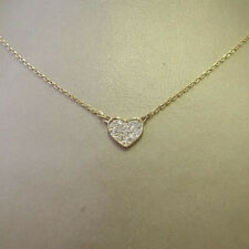 14k Solid Yellow Gold Love Heart Choker Necklace Pave 0.10ct Carat H/SI Diamonds