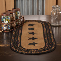"""VHC Country Farmhouse Star Jute Primitive Oval Runner 13"""" x 36"""""""