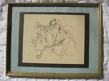 vtg mid century Orchestra FRAMED INK DRAWING violin trumpet clarinet Dimarzio