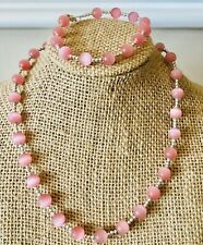 Colored Glass Beads. 16 Inches Necklace And Bracelet Set. Coral