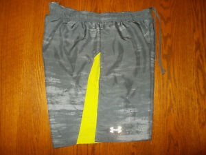 UNDER ARMOUR GRAY RUNNING SHORTS WITH LINER MENS LARGE EXCELLENT CONDITION