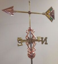 Beautiful copper STAINED GLASS ARROW weathervane, COMPLETE SETUP + mount