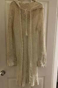 Boho South Of The Border Long Ivory Crocheted Hooded Coat Tassels Cape Size M/L