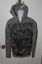 MEN'S OBEY RECORD AND LABELS GRAY & BLACK FRONT ZIP HOODIE SIZE MEDIUM