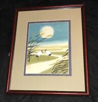 "Vintage Asian Japanese Water Color Painting Crane Bird ART Signed Framed 21x17"""